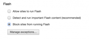Chrome Settings for Blocking Adobe Flash