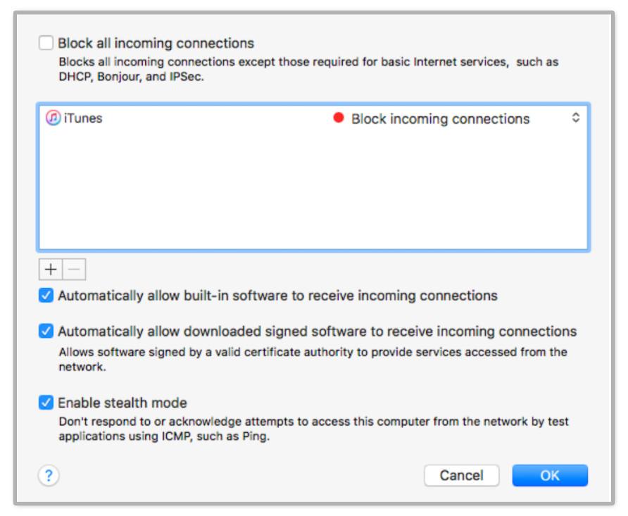 Enabling a firewall in OSX