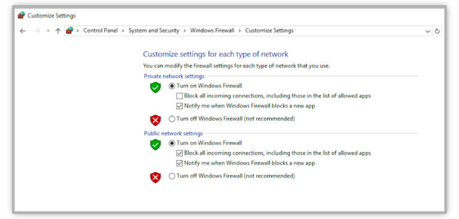 Enable a Firewall in Windows